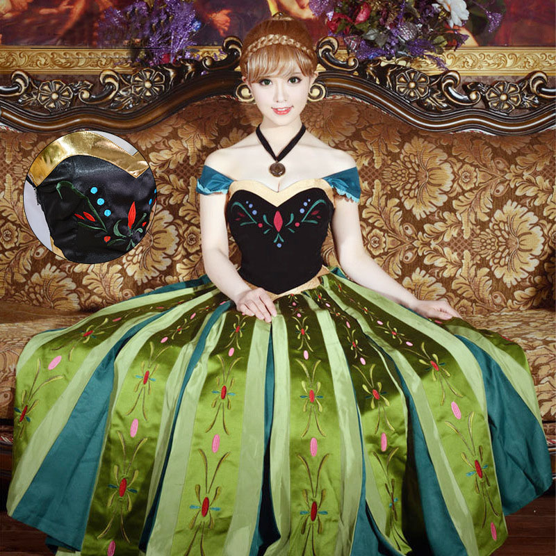 Free shipping adult FROZEN Princess Embroidery Anna Coronation Cosplay Dress Animation Dress for women JQ 1366 in Movie TV costumes from Novelty Special Use