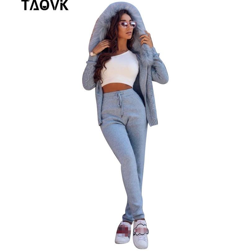 TAOVK Hiver Laine Tricoté Costumes Réel De Fourrure À Capuchon Cardigan Chandail Occasionnel Pantalon Deux-pièce Ensemble Chaud 2 pièce Femme