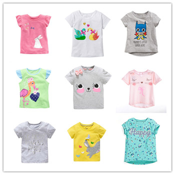 VIDMID dziewczyna kolorowe koszulki trójniki dzieci kwiecista z bawełny ubrania koszulki dziecięce koszulki dla dzieci koszulki dziewczyny lato królik kreskówka tees tanie i dobre opinie COTTON Moda Plaid REGULAR O-neck Topy Krótki Pasuje prawda na wymiar weź swój normalny rozmiar