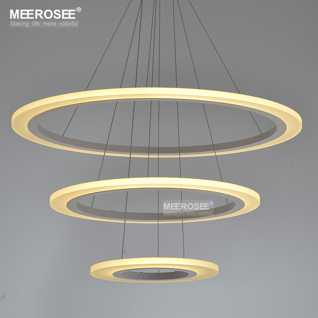 Whole White Acrylic Led Chandelier Light Fixture Modern Circle Hanging Lamp Re Aluminum