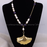 New Design Asymmetrical Fresh Water Pearl Crystal Necklace With Gold Leaf Pendant Elegant Lady Necklace Jewelry