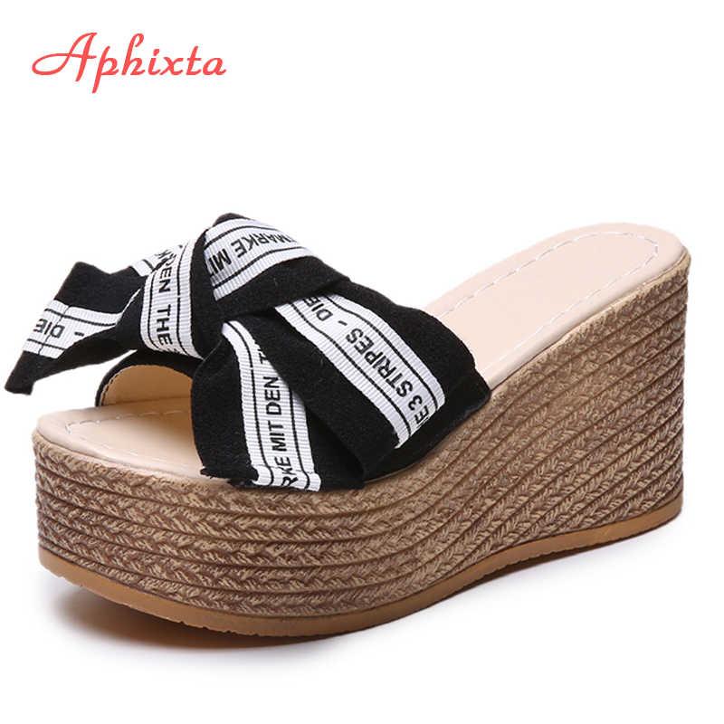 Aphixta Nền Tảng Nêm Dép Nữ Đế Giày Bên Ngoài Clog Riband Bướm-nút thắt Giày Xăng Đan Nữ Xỏ Trượt Pantoufle Femme