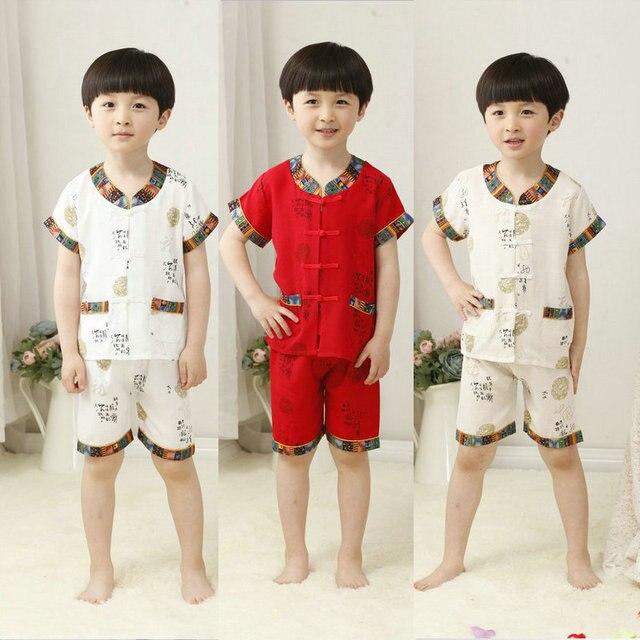 Детские Летние Dress Костюм Хлопок Белье Китайский Тан Одежда Брюки Девочек и Мальчиков Дети Показывают Dress Уютный Прохладный Костюм