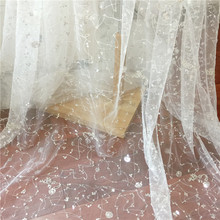 1 Yard Luxury silver sequin beading tulle sriped embroidery lace fabric by yard, prom dress couture with off white