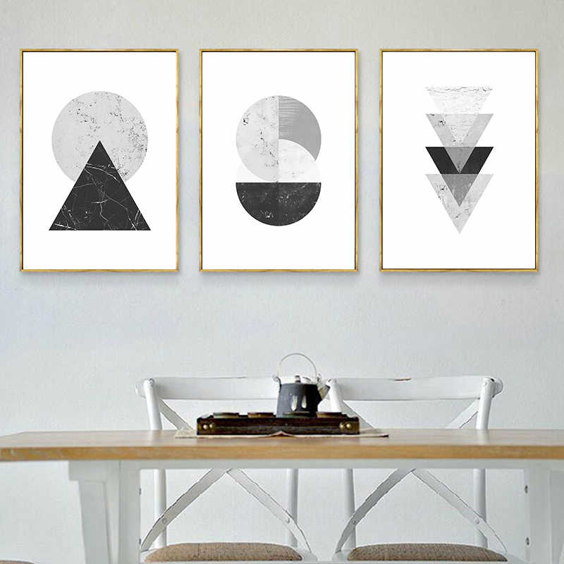 Marble Geometric Patterns Abstract Decorative Canvas Painting Art Print Poster Restaurant Office Home Picture Decoration
