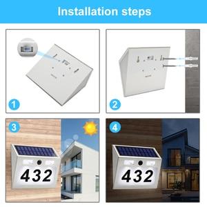 Image 5 - 5 LED חיצוני Doorplate שמש מנורת Waterproof בית מספר LED שמש אור Montion חיישן Plaue אור לבית גן דלת