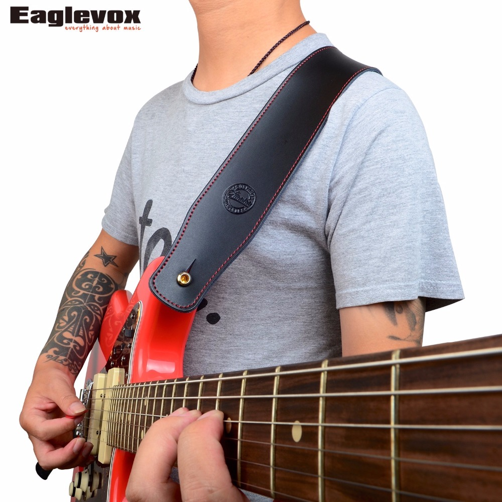 Amumu Genuine Leather Guitar Strap for For Acoustic Electric Guitar and Bass Cow Leather Guitar Belt  S888 amumu cotton guitar strap for acoustic electric guitar and bass solid color guitar belt adjustable 66 126 cm length s309