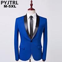 PYJTRL Mens Moda Kraliyet Mavi Şal Yaka Ceket Takım Rahat Düğün Iş Erkek Blazer Ceket Masculino Slim Fit Hombre