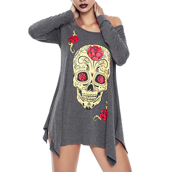 Women's T-shirt Long Sleeve Halloween Skull Printe O-Neck Long Casual Big Size Female S-2XL Tops Clothes camiseta mujer verano 1
