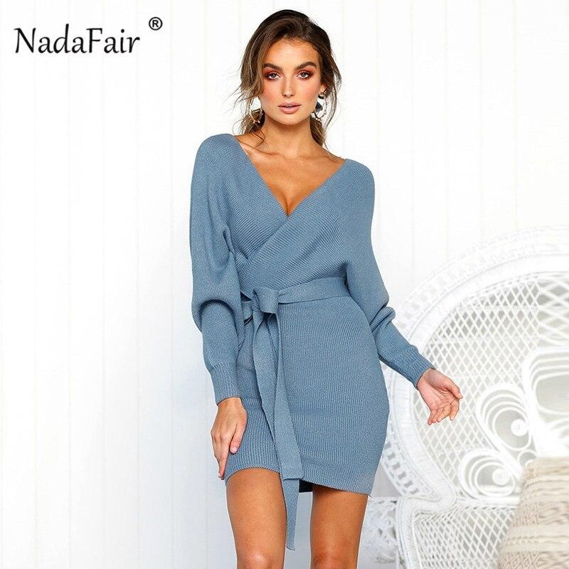 Nadafair 2018 manga larga costilla de punto suéter vestido de invierno las mujeres otoño v cuello vestido sexy bodycon mini vestidos elegante Bata pull