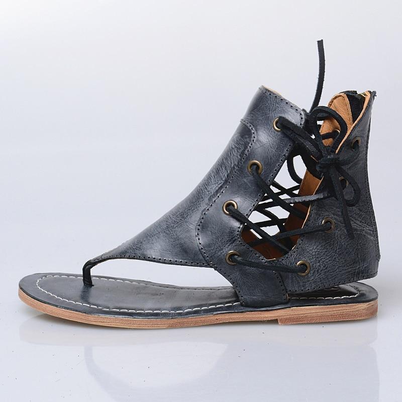 Chaussures Femme Bordées En Sandales Mabaiwan Appartements Véritable Gladiateur Évider Flip Noir Zip Cuir D'été Femmes Pantoufle Flops vqvBE