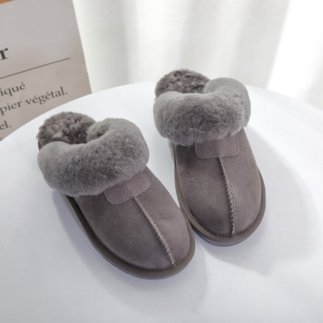 Natural Sheepskin Fur Slippers Fashion Female Winter Slippers Women Warm Indoor Slippers Top Quality Soft Wool Lady Home Shoes