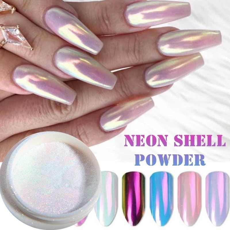 1 Piece Mermaid Nail Glitter Powder Pearl Shell Shimmer Powder Glimmer Dust Pretty Shimmer Laser Glitters Nail Art Decorations