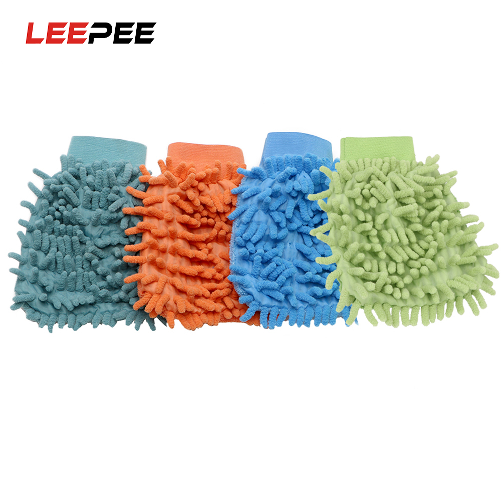 LEEPEE 1 piece Car Wash Glove Ultrafine Fiber Chenille Microfiber Home Cleaning Window Washing Tool Auto Care Tool Car Drying