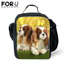 FORUDESIGNS Cute Messenger Thermal Food Lunch Bag for Children Spaniel Dog Print Lunchbox Picnic Kids Insulated Handbag