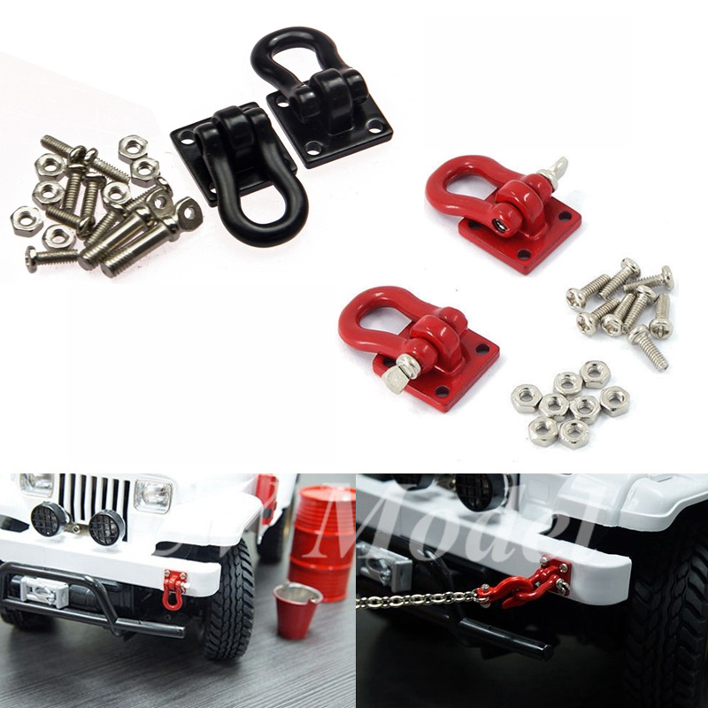 RC 1:10 Crawler Car Accessories Red Black Alloy 1:10 Scale Tow Hooks Hitch Tow Shackles Mounting Bracket for SCX10 RC Crawler 2 unit 1 10 scale shackles with bracket red for rc crawler truck accessory free shipping