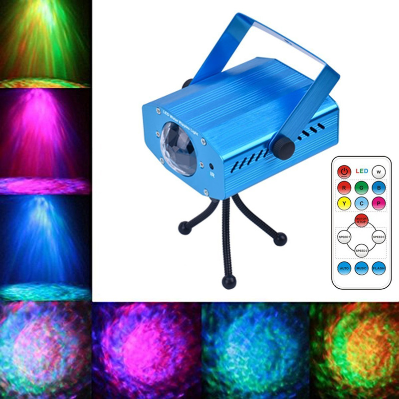 Mini Remote RGBW LED Water Wave Ripple Disco Stage Light Party Pattern Lighting Show Laser Projector For DJ Bar Karaoke Xmas