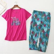 Korean 2019 New Summer Women Pajamas Cotton Cute Print Pajama Set Top + Capris Elastic Waist Plus Si