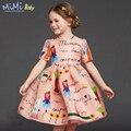 Vestidos para Niñas Ropa de 2017 Niños del Verano de Algodón de Dibujos Animados Princesa Patrón de Graffiti Vestidos para el Partido Del Bebé Ropa de La Muchacha