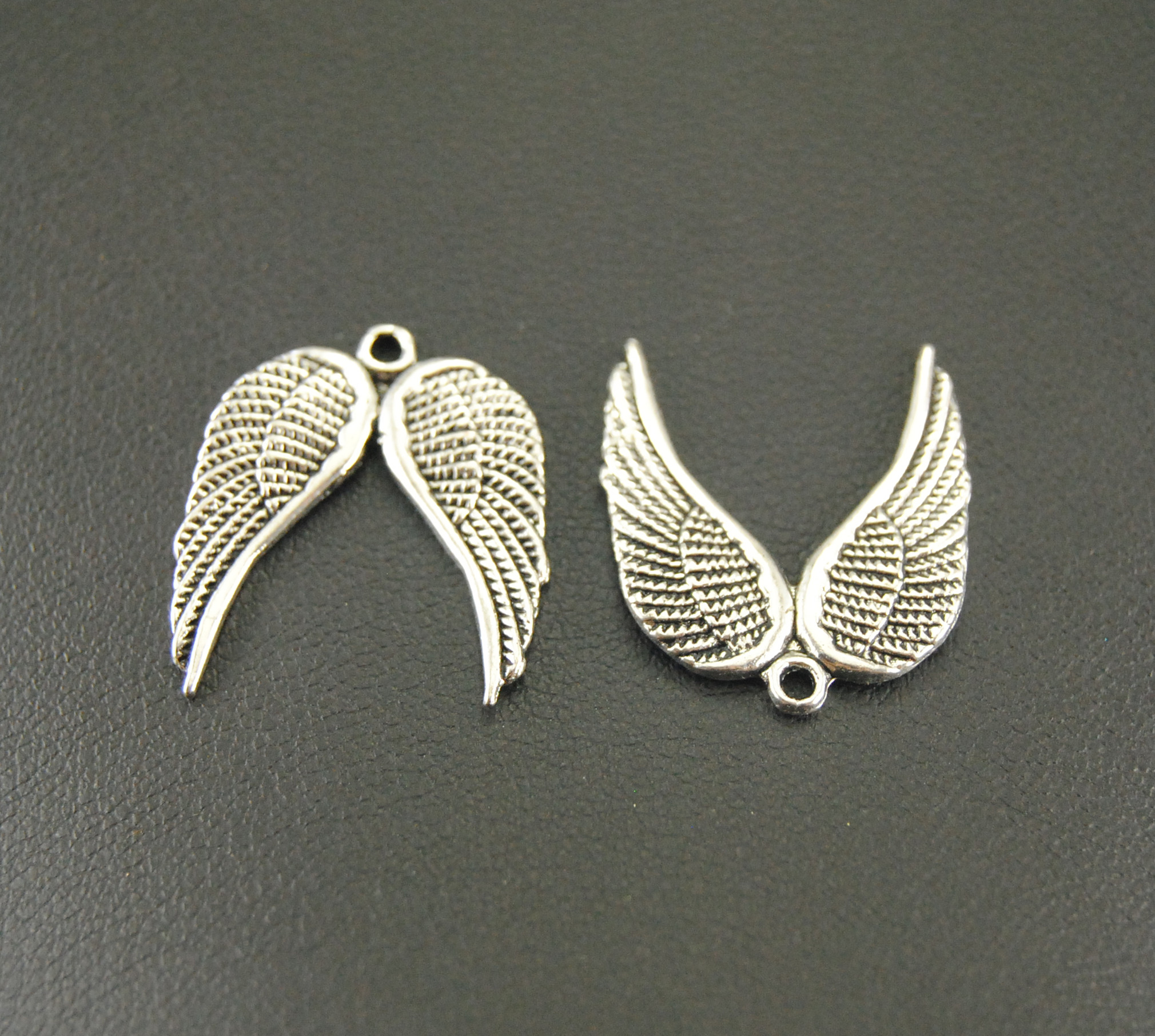 Tibetan Alloy Small Angel Wings Connectors 2 sided Antique Silver