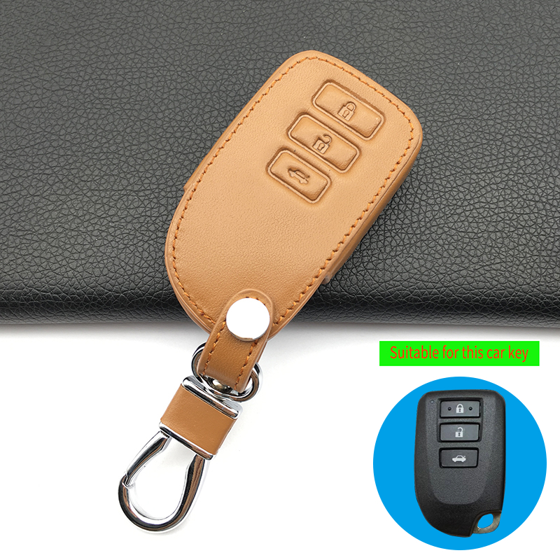 For Toyota Camry Crown Prado 99% Praise leather car key case cover 3 buttons Smart Key Remote Control Auto accessories