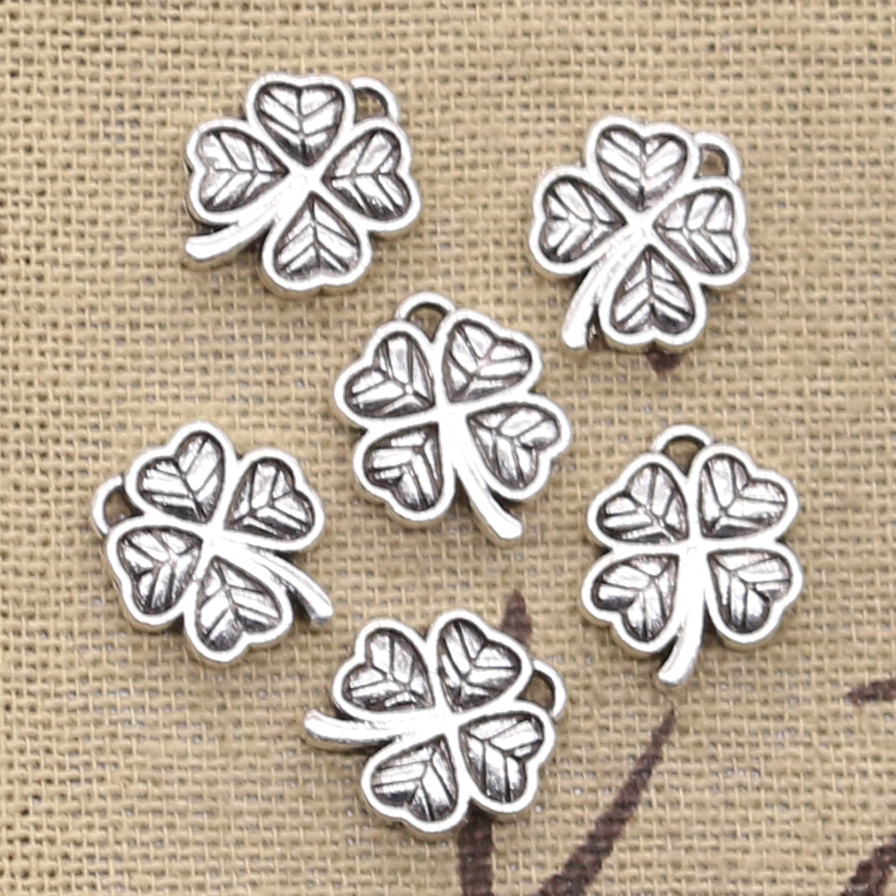 10 x Antique Silver Lucky Horse Shoe /& Clover Charms Pendants Beads 18x15mm