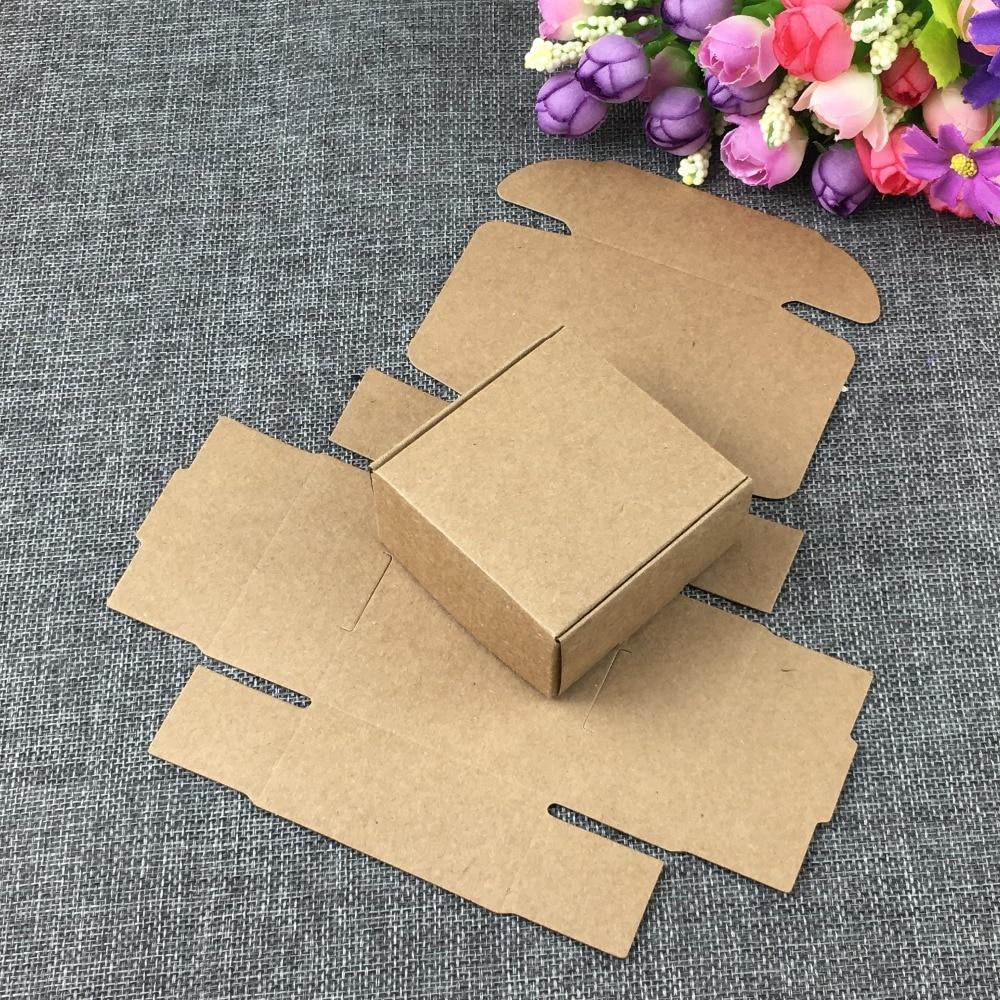50pcs/lot Kraft Paper Box Handmade DIY Soap Business Card Gift Party Wedding Boxes 9.5x9.5x3cm