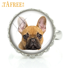 Купить с кэшбэком TAFREE Funny Dog charm rings handmade men women jewellery the brave French bulldog fashion round Glass cabochon jewelry DG25