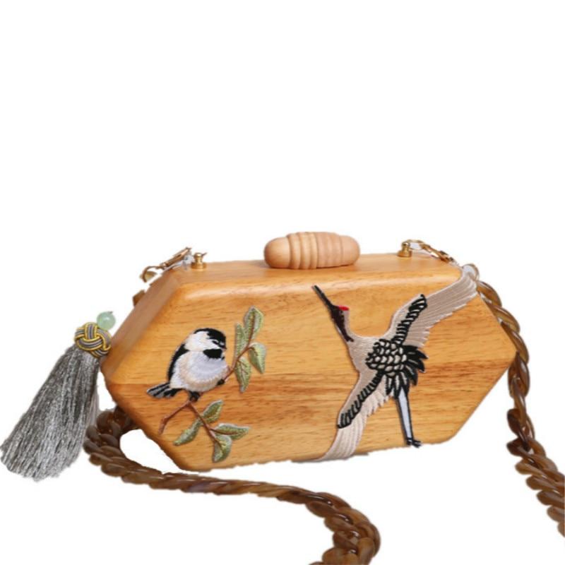 Women Hot Retro Rhombus Wooden Handmade bird Design Wooden Handbag Simple Geometric Shoulder Bag Messenger Bag