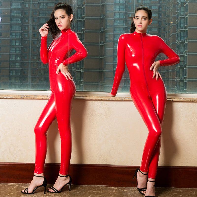 Plus Size PVC Shiny Long Zipper Open Crotch Bodysuit Halter Latex Shaping Bodysuit Catsuit Body Stockings Erotic Lingerie F42 image