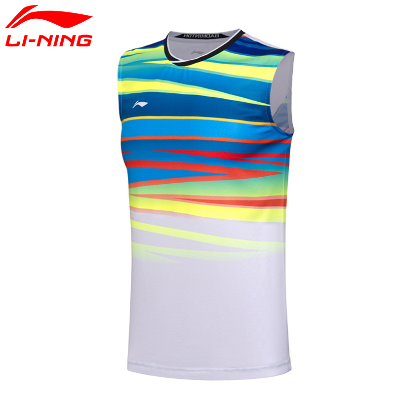 Li-Ning Men AT DRY Badminton Vest Breathable Light Shirts Competition Top Comfort LiNing Sports Vest AVSM101 MTN033