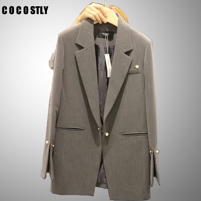 Women Blazers 2019 Autumn Winter Female Long Sleeve Suit Office Lady Outerwear Slim Casual Jackets Solid Gray