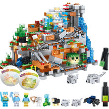 My World Mountain Cave Building Blocks Compatible LegoINGLYS Minecrafted Mini 21137 Aminal Alex Figures Bricks Toys For Children(China)