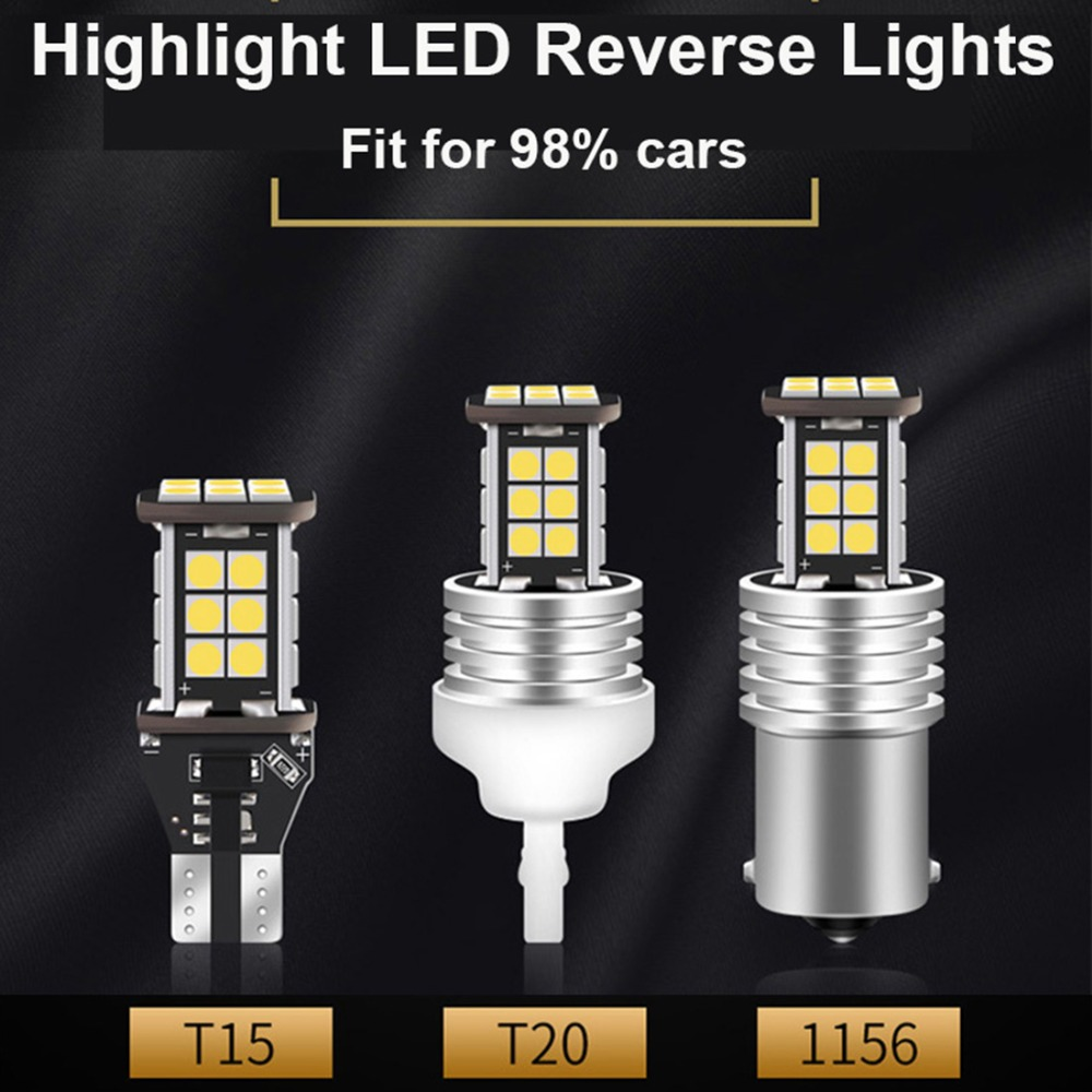2Pcs auto Reverse Signal Lamp W21W T20 Car Turn lamps 6000K White 12V T15 W16W 1156 led car bulbs for Toyota Honda Ford in Signal Lamp from Automobiles Motorcycles
