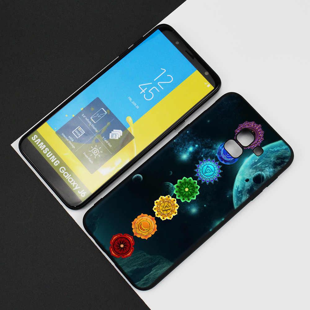 Silikon Fall Für Samsung Galaxy J4 J6 A6 A8 Plus A7 A9 J8 2018 A5 2017 Soft Cover Shell mandala chakra yoga