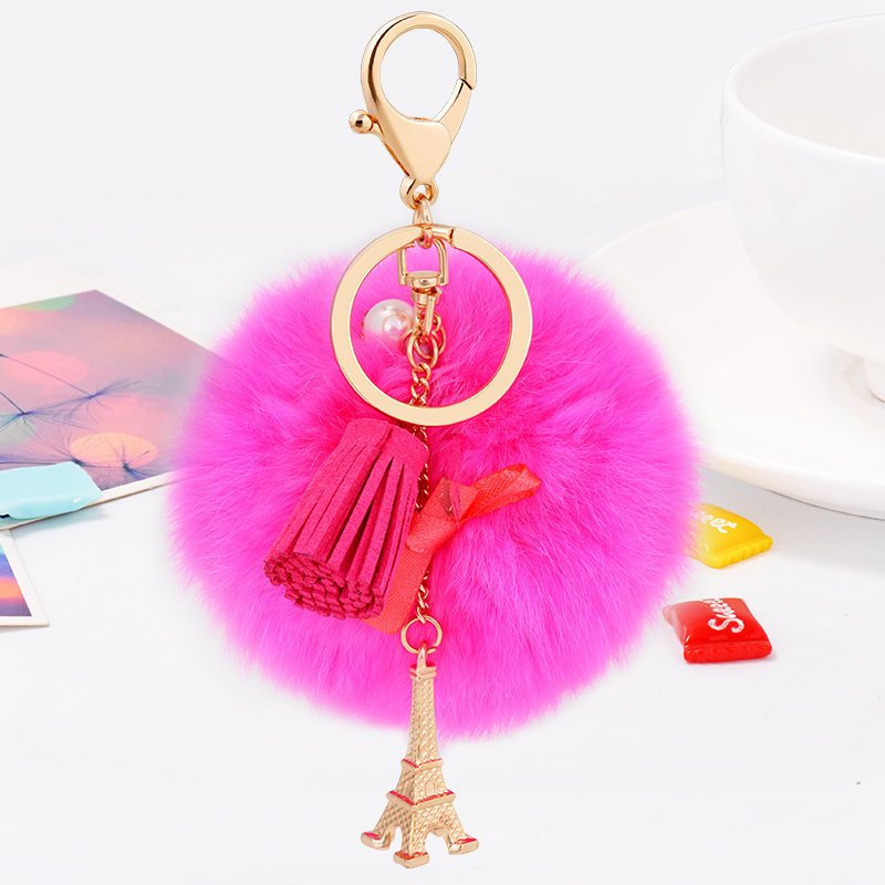 Hot sale Tassel Pompom Car Key Ring Pendant Fur Ball Keychain with Eiffel Tower Plush Fur Key Chian POM POM Keychain CH-932