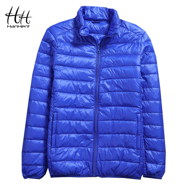 HanHent Basic Thin Light Cotton Cloth Winter Stand Collar Parka Men Short Fashion Soft Coats Solid Color Loose Winter Jacket Men