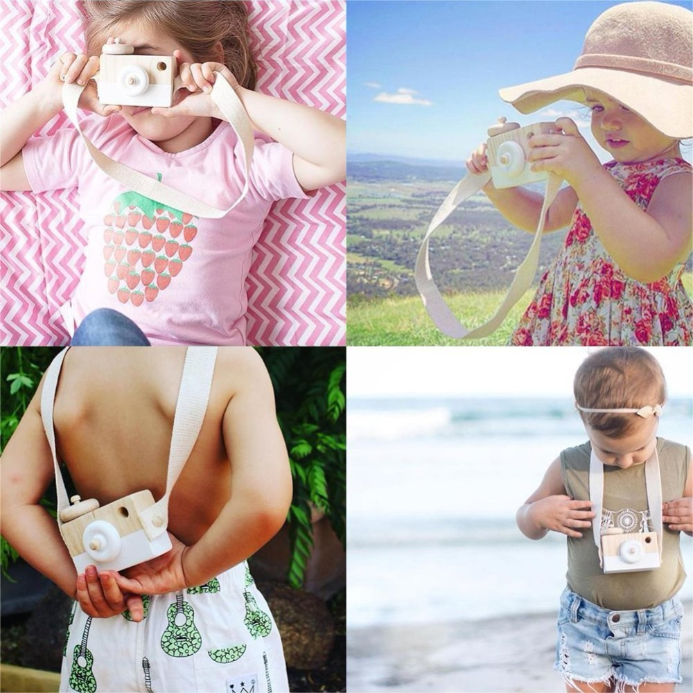 HEYFON Wooden Mini Camera Toy Pillow Kids Room Hanging Decor Portable Toy Gift Green Color