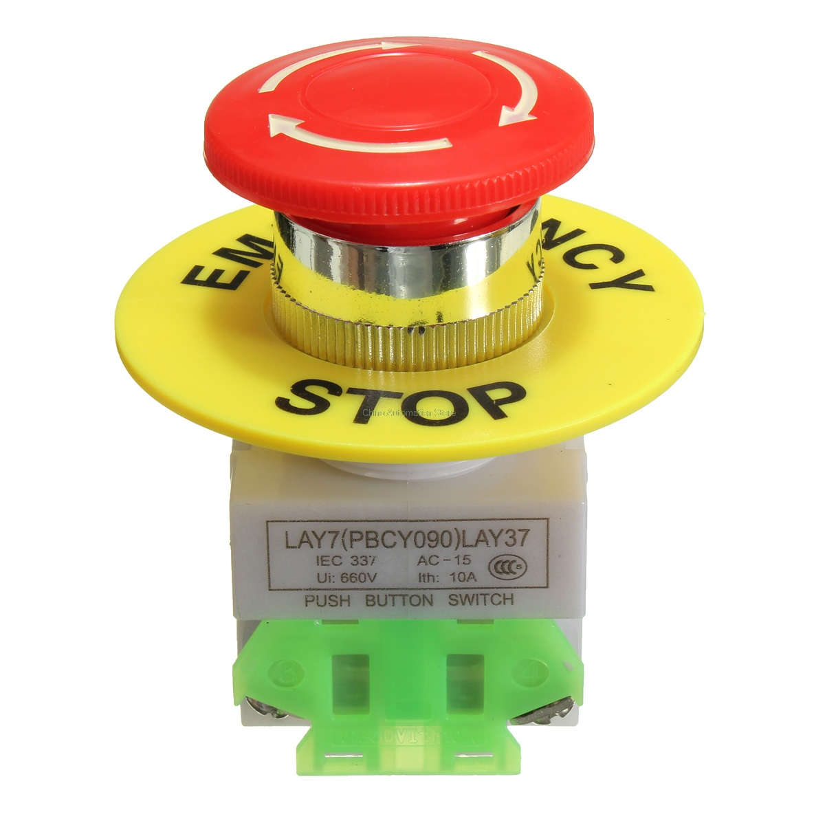 Red Mushroom Cap 1NO 1NC DPST Emergency Stop Push Button Switch AC 660V 10A Switch Equipment Lift Elevator Latching Self Lock ac 600v 10a normal close plastic shell red sign emergency stop mushroom knob switch 22mm elevator emergency stop switch