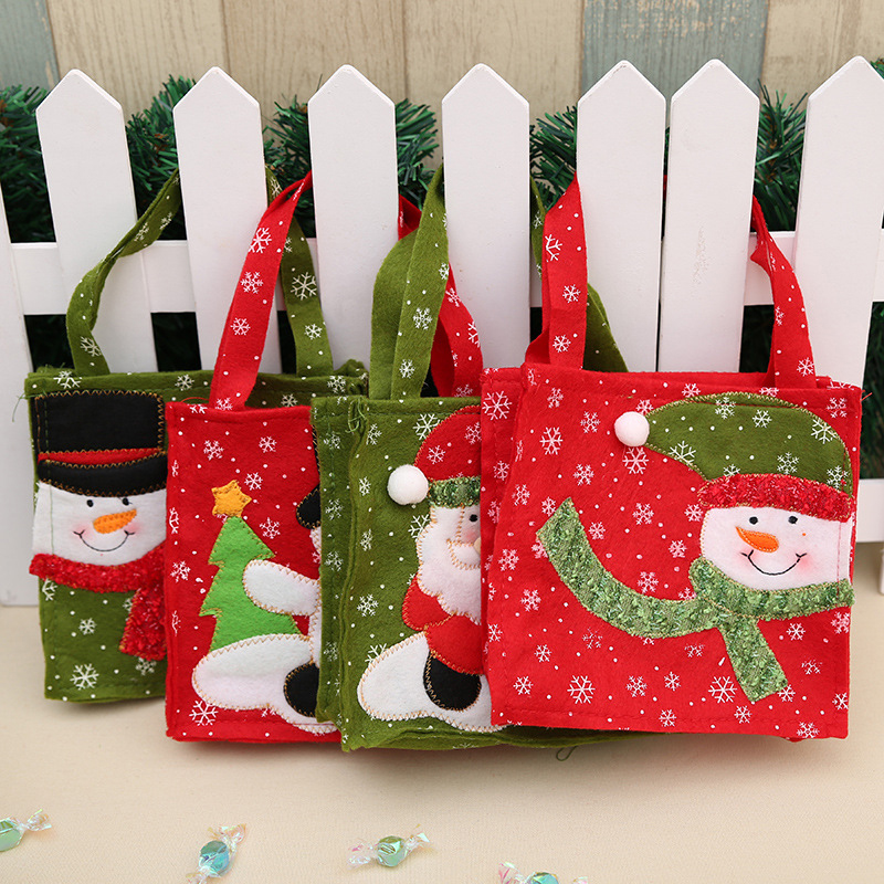 Image 2 - New Year Xmas Gifts Santa Claus Snowman Candy Bags Hangable Pouch Handbag Merry Christmas Storage Package Container Organizer-in Stockings & Gift Holders from Home & Garden