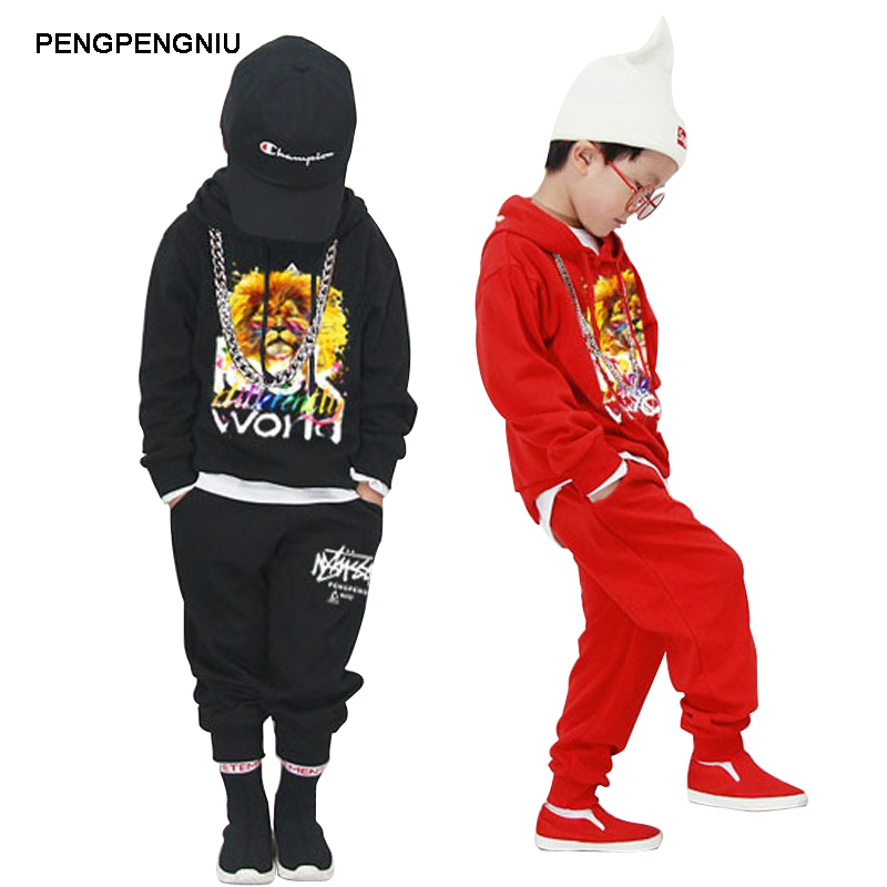PENGPENGNIU Long Sleeve Hip Hop Clothing Set Kids Boys Street Dance Clothes Spring Autumn 2018 Fashion High Quality Streetwear