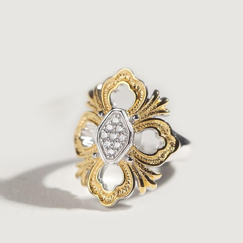 CMajor bijoux en argent massif croix fleur creux élégant dentelle mode Vintage anneaux pour les femmes - 3