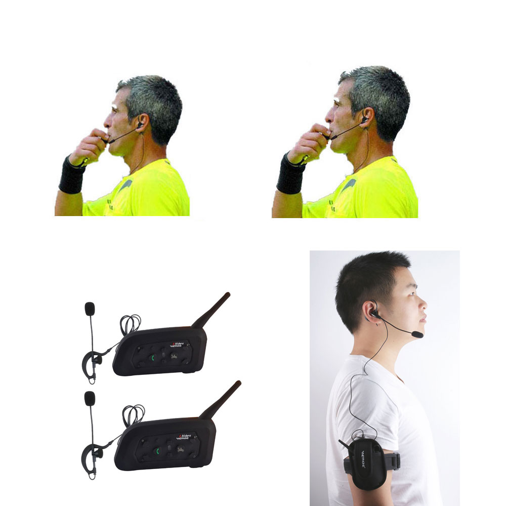 Referee Intercom Headset Football Full Duplex Wireless 1200M 2pcs Professional title=