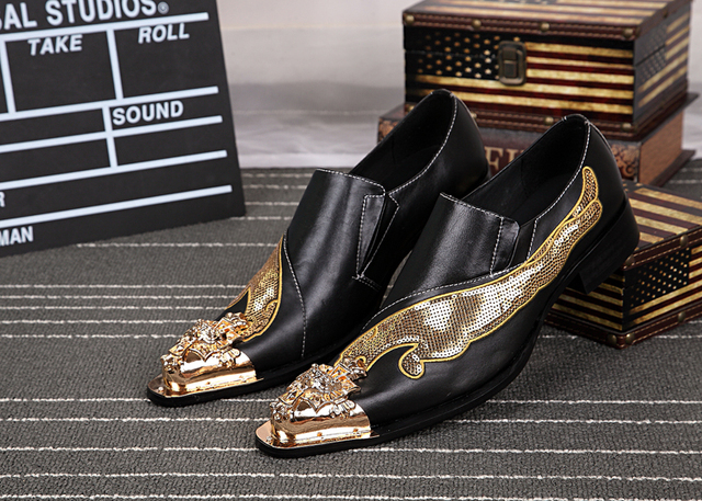 Gold Silver Glitter Wedding Men Shoes Leather Men Formal Shoes Metal
