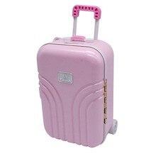 b67e38c9daa 12*17 cm Babypoppen Reizen Koffer Roze Zilveren Koffer Voor 18 Inch Meisje  Kids Pop