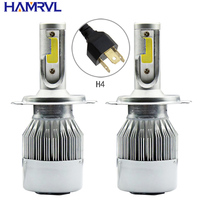 Wholesale 20Pcs Lot Car Styling 12V LED Car Headlights COB H4 H7 Auto Head Lamp Lights