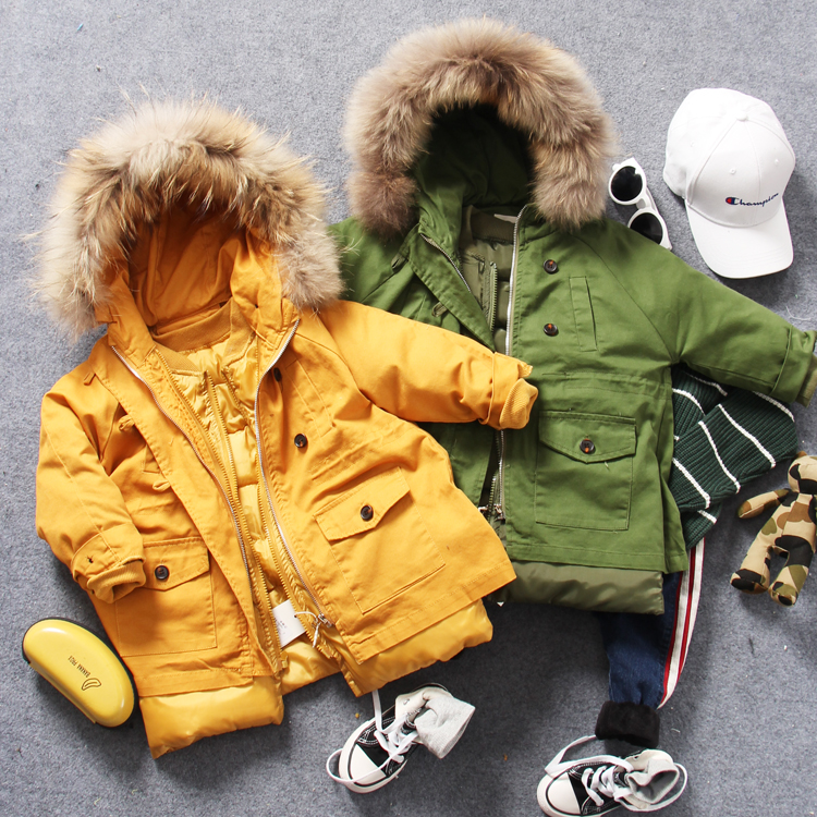 only coat 1pc 2-9Y new 2017 winter thick warm boys wool collar cotton-padded coat with hood boys casual warm windcoat 1pc new 99 9