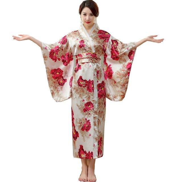 7b03d679b462 Japanese Traditional Women Silk Rayon Kimono Vintage Yukata With Obi  Performance Dance Dress Halloween Costume One