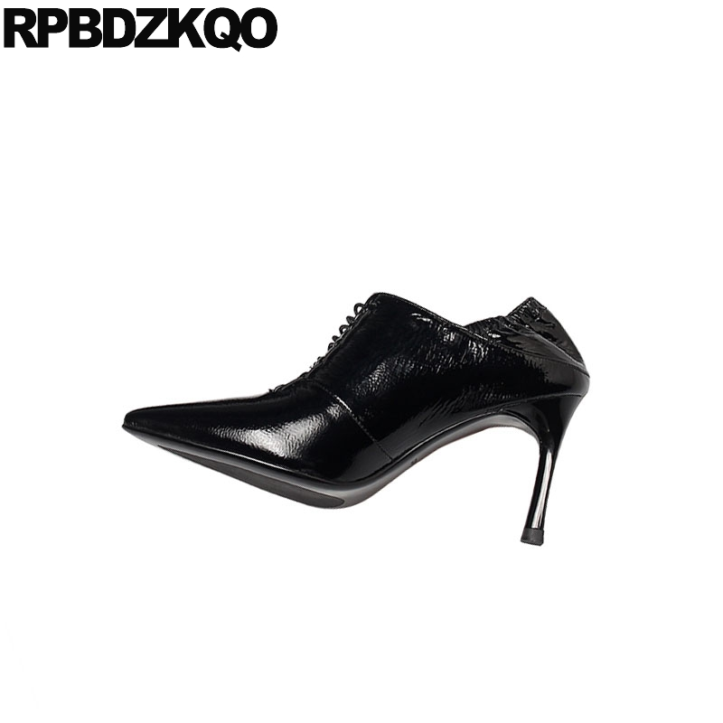 Black Genuine Leather Pointed Toe Handmade Scarpin Lace Up Fashion Shoes 2019 Luxury Women High Heels Ladies Pumps Patent 8cm
