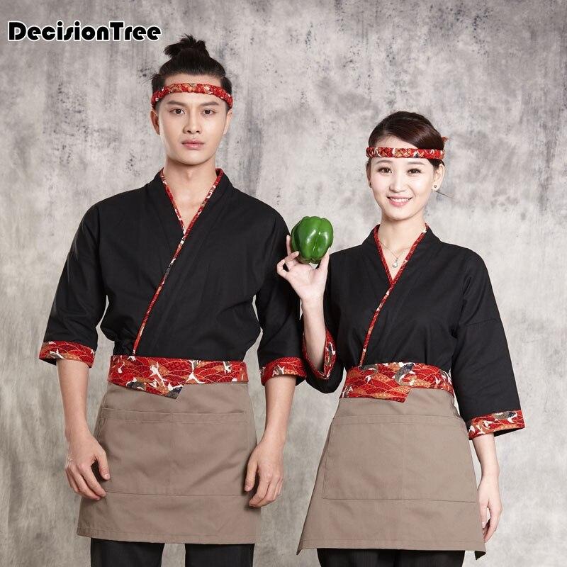 2019 femme mâle japon chef uniforme cuisine chef costume restaurant service uniforme kimono travail porter des uniformes de serveuse